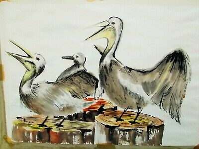 "Signed Watercolor Painting PELICANS Artist SCIORE dated 1954 24"" Seaside Birds"