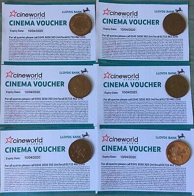 6 CINEWORLD Cinema Tickets / Vouchers - EXPIRY 10/04/2020, VALUE APPROX. £70