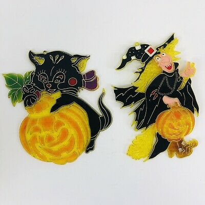 2 Vintage Sun Catchers HALLOWEEN Stained Glass Plastic Witch Black Cat