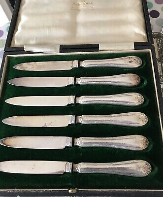 Silver Plated 6 Knives Mappin & Webb Princess Plate In Original Case