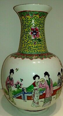 "12"" Antique Old Chinese Asian Handmade Hand Painted Porcelain Vase! Rare!"