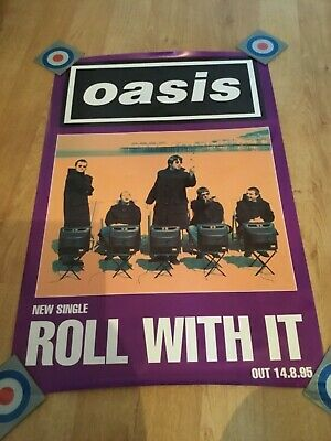 8 1995 Original Record Company Oasis 'Roll With It' Promo Poster Noel Liam