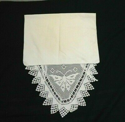 Vintage Single White Cotton Pillowcase w/ Ties & Hand Crocheted Lace Butterfly