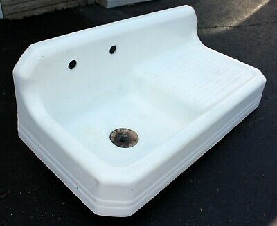 Antique Cast-Iron Porcelain Kitchen Farmhouse Sink w/Right Hand Drainboard