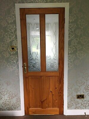 Solid Wood Internal Doors >> 6 X Solid Wood Internal Doors With Decorative Glass Panels