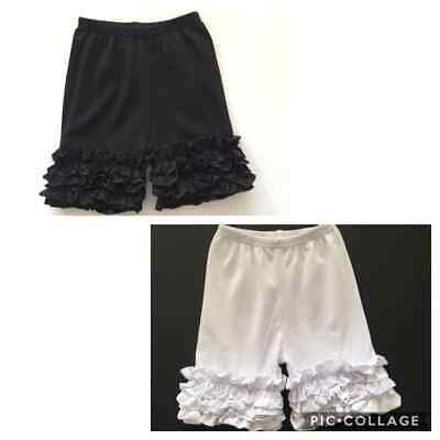Darling Boutique Ruffled Icings Shorts Solid Black White 2T 3T 4T 5-6T 6-7T 7-8T