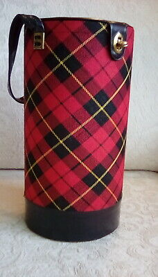 """Vintage Tartan Plaid Knitting Tote Tube Holds Yarn Needles Round Container 10"""""""