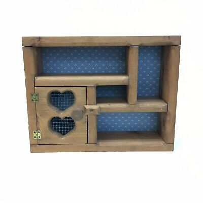 VTG Small Wooden Curio Trinket Display Shelf Decor Wood Wall Mount Wire Heart