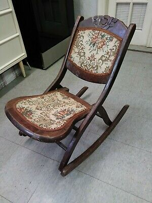 Antique Folding Rocking Chair Vintage Wooden Tapestry Seat