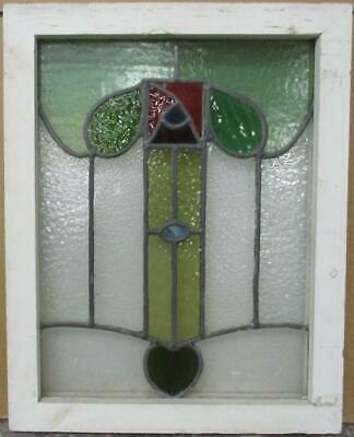 "OLD ENGLISH LEADED STAINED GLASS WINDOW Pretty Abstract Floral 16.75"" x 21"""