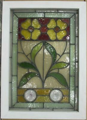 "MIDSIZE OLD ENGLISH LEADED STAINED GLASS WINDOW Stunning Floral 20.5"" x 28.25"""