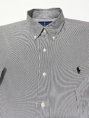 Ralph Lauren Mens Casual Black White Striped  Shirts Slim Fit Long Sleeve Size S