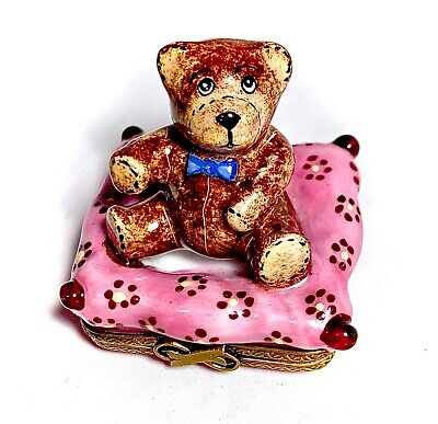 Limoges France French Hand Painted Teddy Bear Trinket Pill Box Peint Main Limoge