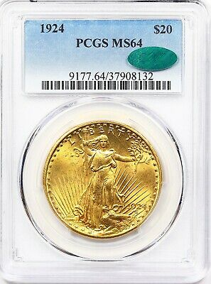 1924 PCGS MS 64 Double Eagle, $20 Gold St Gaudens ** CAC, Rich Golden Honey!