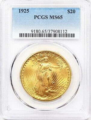 1925 PCGS MS 65 Double Eagle, $20 Gold St Gaudens ** Premium Quality!