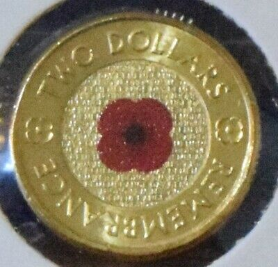 2012 Remembrance $2 Two Dollar Red Poppy coin with RSL card - From Roll - Unc