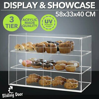 Large Acrylic Cake Display Cabinet Bakery Muffin Cupcake Donut Pastries 5mm TOP!