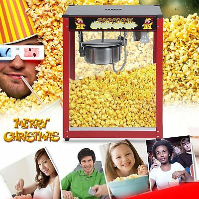 1370W Commercial Stainless Steel Popcorn Machine Red Pop Corn Warmer Cooker 8t