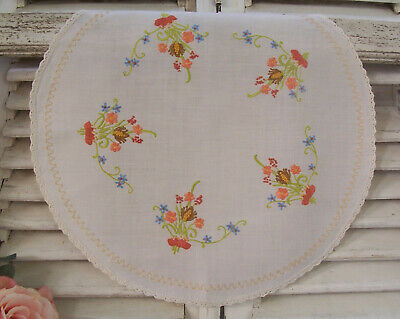 Shabby Vintage Hand Embroidered Round Doily Table Centre