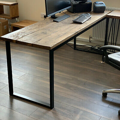 Industrial Office Table Rustic Desk Reclaimed Computer Unit Steel Chunky Rustic