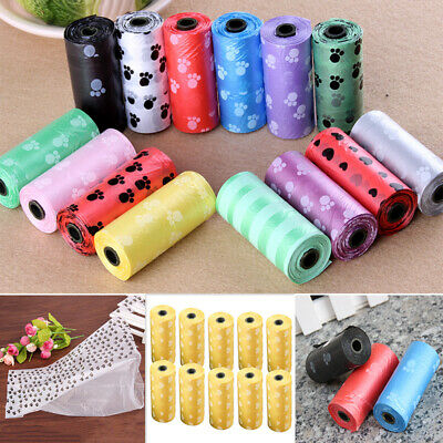 10Roll/150PCS Pet Dog Waste Poop Bag Poo Printing Degradable Clean-up colorful w