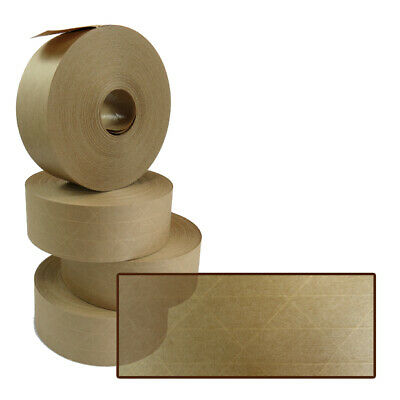 24 NEW Roll Of REINFORCED Gummed Paper Water Activated Tape 48mm x 100M, 130gsm
