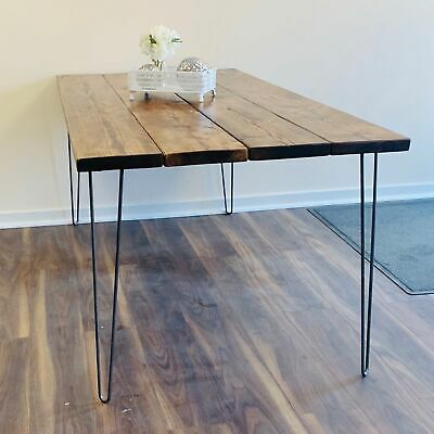 Industrial Scaffold Board DINING TABLE Hairpin Legs Solid Timber Wood DESK