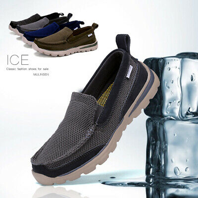 Mens Trainers Sneakers Slip On Casual Fit Go Walk Driving Boat Shoes Gym Loafer