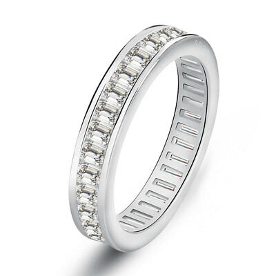 Women Round Princess Cut Cubic Zirconia Stackable Eternity Wedding Band Ring