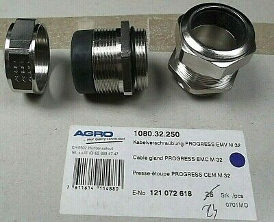 Cable Gland IP68 M32 + Nut Cable Entry 21 - 25mm EMC Nickel EEx ATEX 1080-32-250