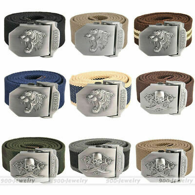 Men's Tactical Belt Automatic Metal Buckle Army Canvas Belt Military Style US