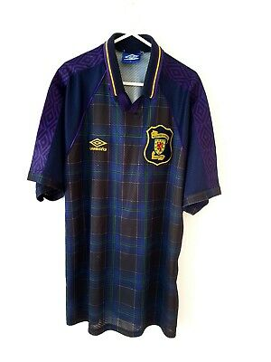 Scotland Home Shirt 1994. XL. Umbro. Blue Adults Football Top Only Short Sleeves