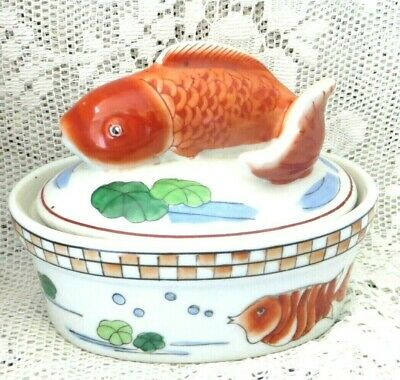 Vintage Chinese Stoneware Pottery Carp Fish Dish - Hand Painted