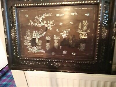 Japanese Chinese Wooden Carved Inlay  & Mother of Pearl  Tray