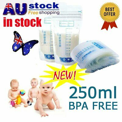10/100pc Pre-Sterilised Baby Breast Milk Breastmilk 250ML Storage Bags Pouche RK