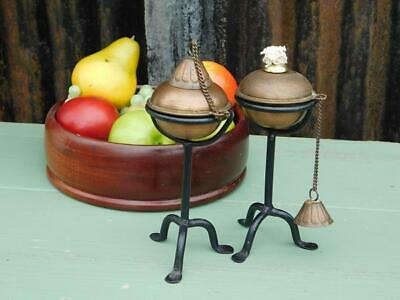 Pair Of Vintage Arts & Crafts Styled Copper & Iron Candlesticks Burners