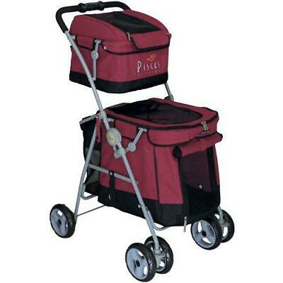 Pet Stroller Dog Double Duo 2Buggy Red Pushchair Cat Jogger Pets Travel