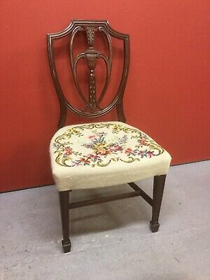 Antique Edwardian Mahogany Needlepoint Covered Chair Sn-848a
