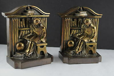 Vtg Metal Monk Priest in Library Books Bookends Heavy Possible USA