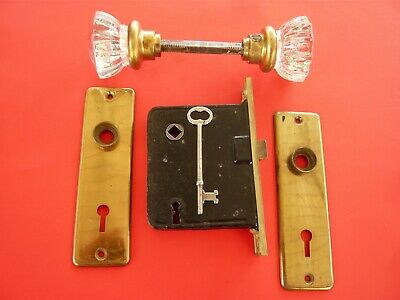 Set Of Mortise Lock With Key Glass Door Knob, Brass Front & Back Plate / Vintage