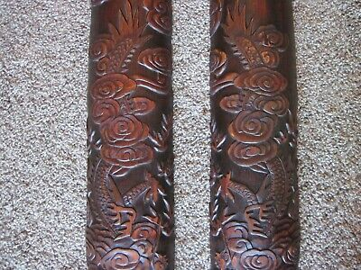 """Amazing Antique Chinese Bamboo Carving of Dragons in the Clouds - Large 31"""" long"""