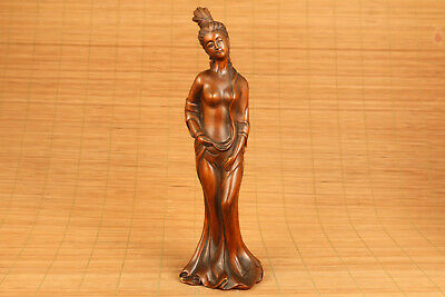 chinese old boxwood hand carved guifei statue netsuke collectable