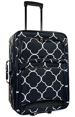Quatrefoil Carry On Luggage Suitcase Travel Small Rolling Wheeled Expandable