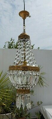 antique French Empire bee basket bag chandelier crystal