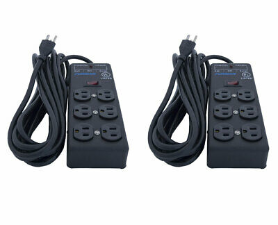 Furman SS-6B Surge Strip Power Block 6 Outlet 15ft Cord Extension 2-Pack