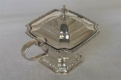 A Stunning Large Shaped Solid Sterling Silver Mustard Pot & Liner London 1948.