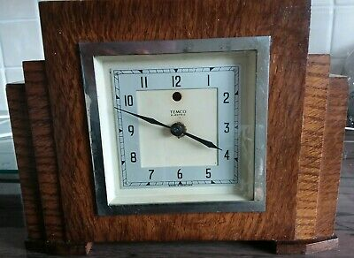 Vintage Wooden Temco Electric Mantle Clock by Telephone MFG Co Ltd England