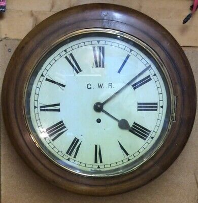 Antique English Mahogany Fusee Wall Clock GWR