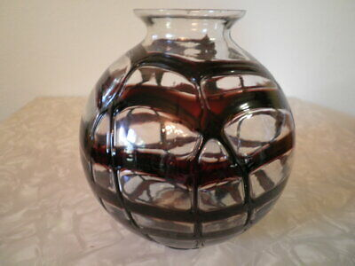 Bohemian Kralik Czech Art Deco Glass Vase. Signed Clear With Red Webbing 1920s
