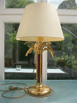 tolle Lampe Palme Design wohl Mailand ~1980 gold rot 69cm Maison Charles